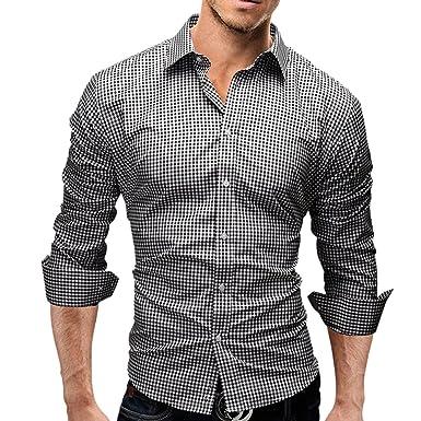 Camisunny Fashion Designer Shirts for Men Long Sleeve Slim Plaid ...