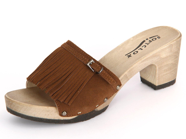 Softclox S3344-02 - Zuecos de Piel para mujer 36 EU|Marrón