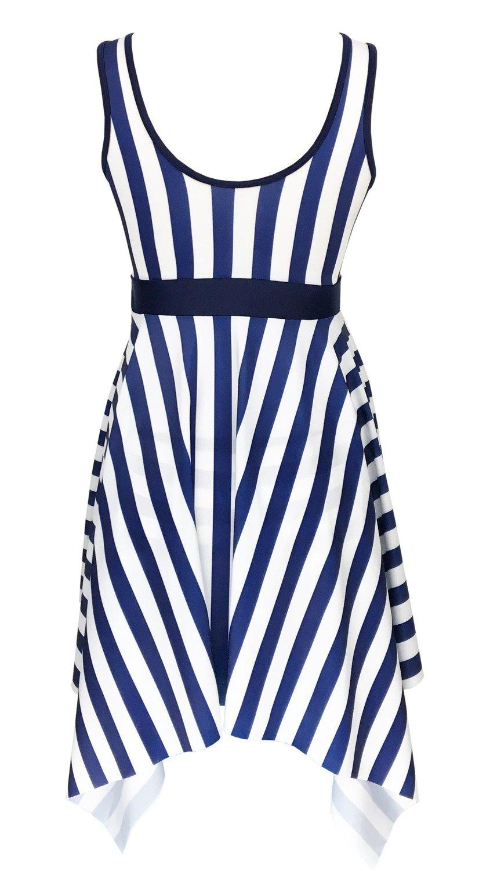 301d579ccd Women DANIFY Womens One Piece Swimsuit Sailor Striped Plus Size Swimwear  Cover up Swimdress