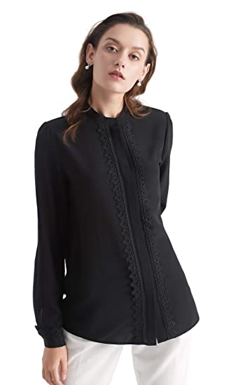 c3076d1d8b9f14 LILYSILK Ladies Stand Collar Lace-Trim Silk Blouse 100 Silk Blouse Ladies  Top Shirt: Amazon.co.uk: Clothing
