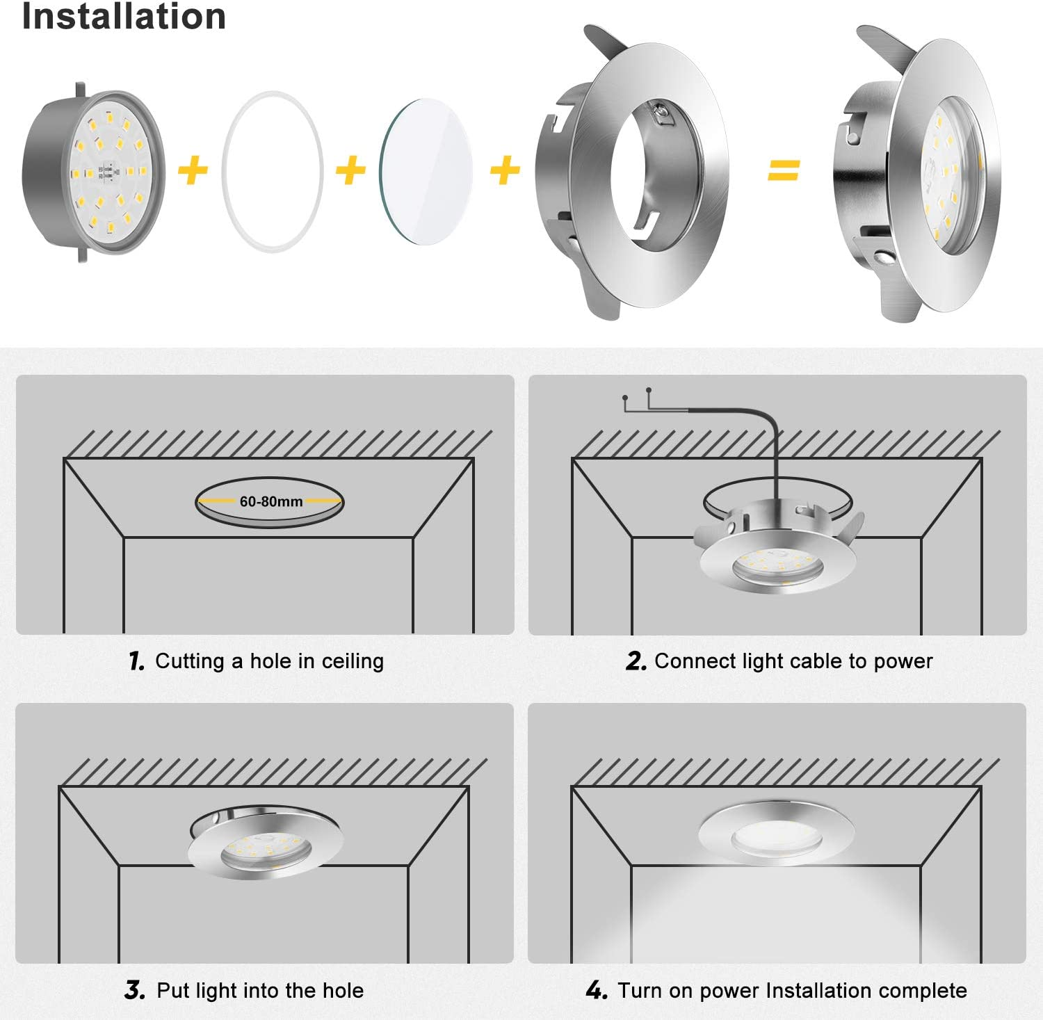 Hole /Ø2.36inch Wowatt 6X 6W LED Recessed Ceiling Lights Bathroom Cool White 6000K 240V Recessed Spot Lights for Ceiling 540lm Bright 50W Halogen Equivalent Downlight f Recessed Ceiling Light IP44