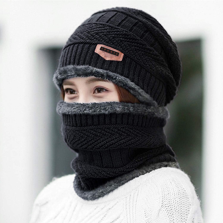 Czemo Homme Hiver 2 Pi/èces Chauffant Bonnet Chapeau Tricot avec /Écharpe de Doublure Polaire Convient /à la Plupart des Adultes Chauffe-Cou pour en Plein air et Quotidien