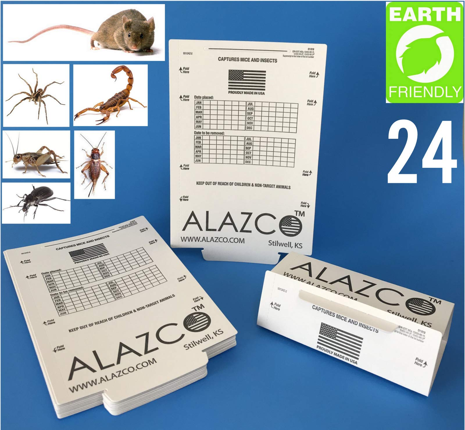 ALAZCO 24 Glue Traps - Excellent Quality Glue Boards Mouse Trap Bugs Insects Spiders, Brown Recluse, Crickets Cockroaches Lizard Scorpion Mice Trap & Monitor Non-Toxic Made in USA by ALAZCO