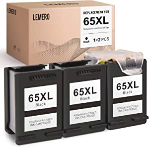 LEMERO Remanufactured Ink Cartridges Replacement for HP 65 XL 65XL to use with Envy 5055 5052 DeskJet 3755 2622 (3 Black)
