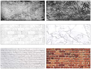 Allenjoy 3pcs Value Pack 34.4x15.7in Double Sided Photography Background 2 in 1 Black White Brick Wall Marble Texture Waterproof Paper Tabletop Backdrop Food Cosmetics Makeup Professional Photo Shoot