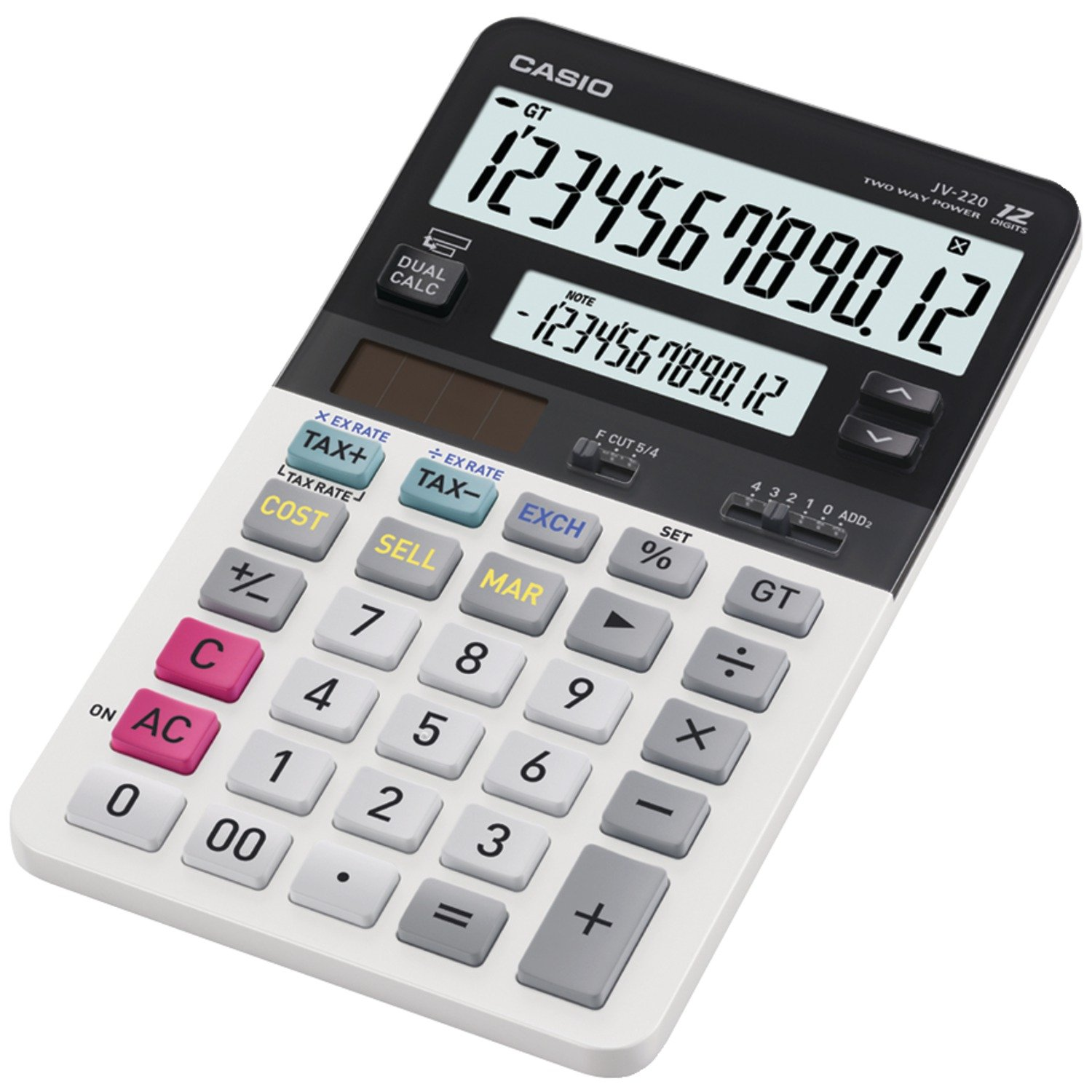 com casio jv 220 standard function calculator dual  com casio jv 220 standard function calculator dual display electronics