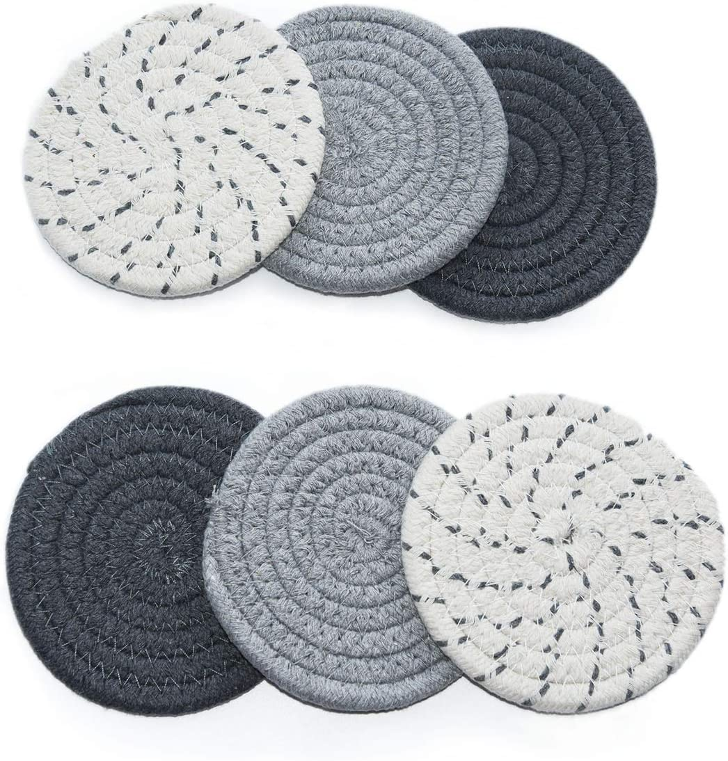 Home·FSN Coaster for Drinks Handmade Braided Coaster Set of 6 for Drinks, Great Housewarming Gift