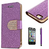 Popular Crystal Diamond Glitter Bling Flip Wallet Stand Case Cover For Iphone 4 4S Purple