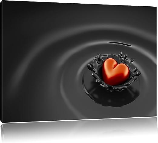 Rotes Herz in Schokolade Leinwandbild Wanddeko Kunstdruck