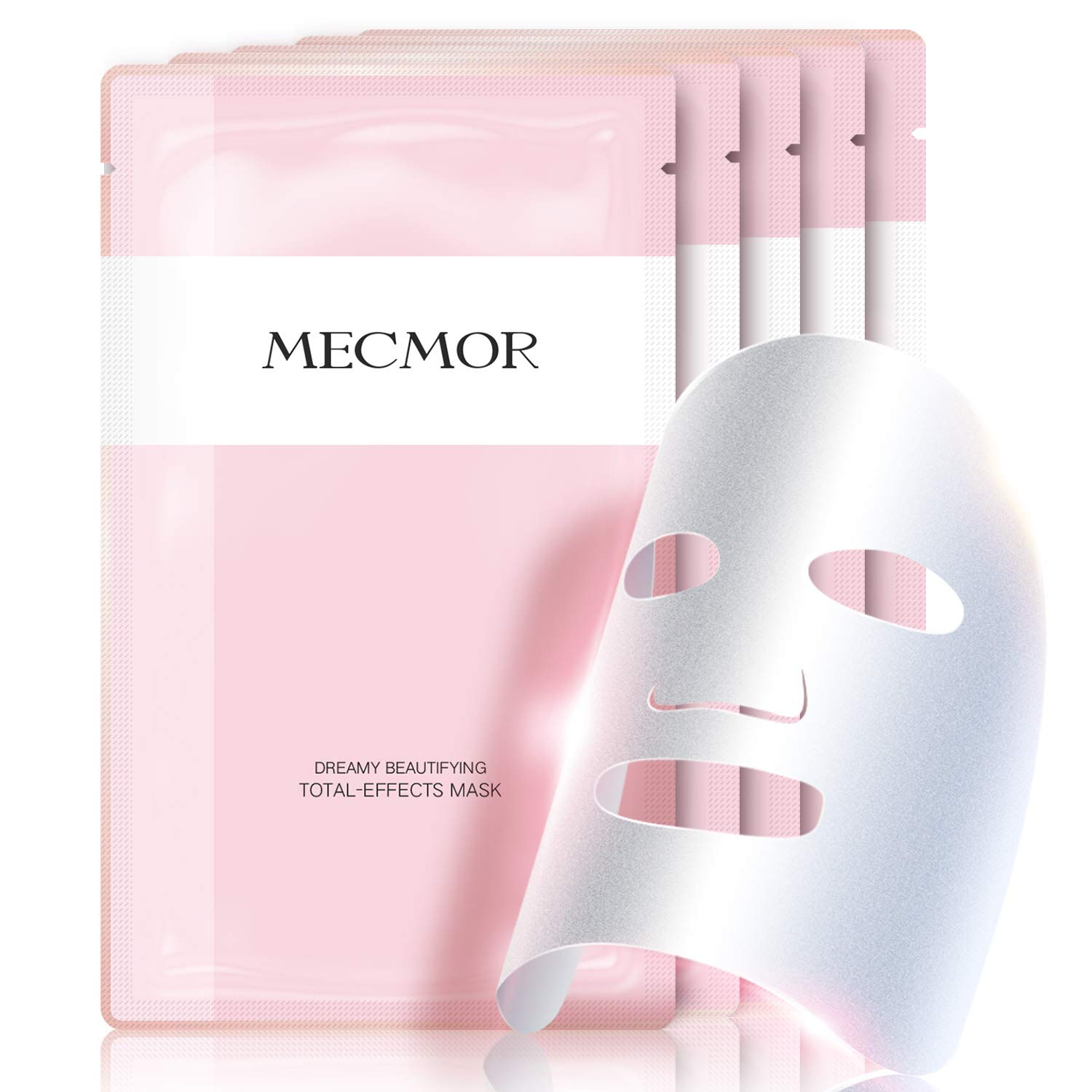 MECMOR Brightening Facial Whitening Treatment Mask Vitamin C 5 PCs, Fade Dark Spots Acne Scars Hydrating Moisturizing with Hyaluronic Acid Mask Sheet for Sensitive, Oily and Dry Skin, Additive Free