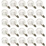 Deneve G40 Clear Glass Globe Bulbs with Candelabra Screw Base, Pack of 25