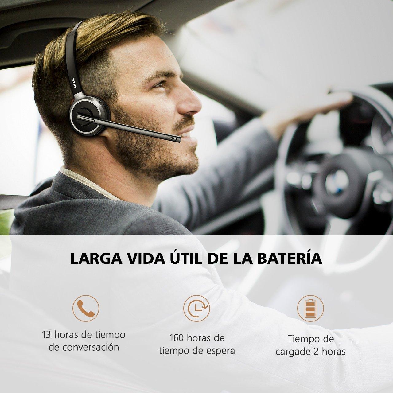 Auriculares Bluetooth 4.1 de Diadema Inalámbrico de VicTsing , Con micrófono incorporado, Manos libres y Cancelación de Ruido Hasta 13 HORAS de Conversación ...