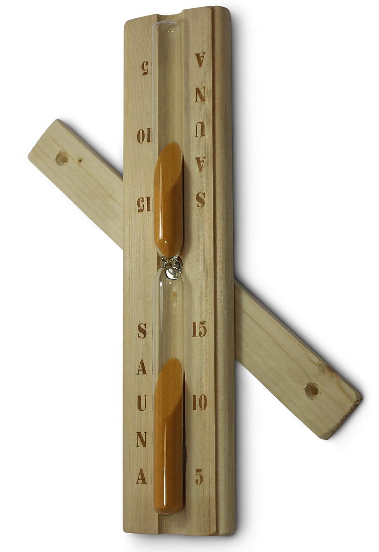 Sauna Sanduhr aus Holz mit hitzebestä ndigem Glaseinsatz vom Sauna-Expert, sandbefü llt, Laufzeit ca. 15 min. geeignet fü r Sauna und Infrarotkabine. Premium Design Sauna Expert