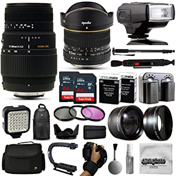 Opteka 6,5 mm + 70 - 300 mm lente con 128 GB y i-TTL Flash para ...