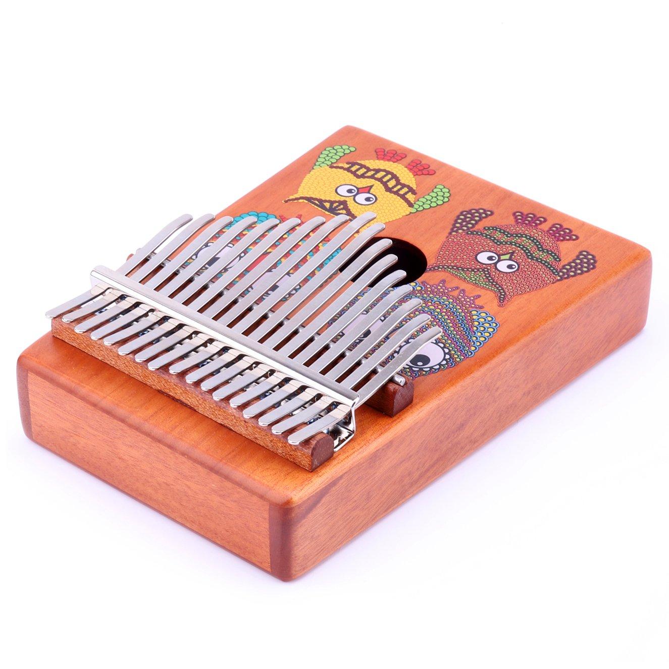 VI VICTORY 17 Key Mahogany Kalimba Colorful African Thumb Piano Finger Percussion Keyboard Music Instruments - Owl by VI VICTORY (Image #4)