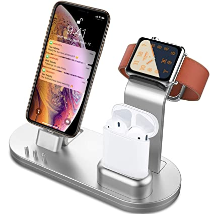 Olebr 3 In 1 Charging Stand For I Watch Series 4/3/2/1, Air Pods And I Phone Xs/X Max/Xr/X/8/8 Plus/7/7 Plus /6 S /6 S Plus/9.7 Inches I Pad (Original Charger & Cables Required)  Silver by Olebr