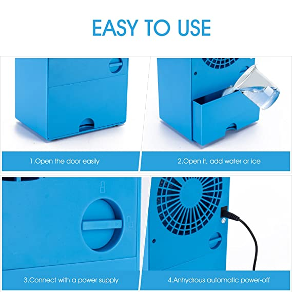 Air Personal Space Conditioner Fan 9.5-inch Small Desktop Fan Quiet Personal Table Fan Mini Evaporative Air Circulator Cooler Humidifier Bladeless Quiet for Office Dorm and Ni Personal Air Cooler