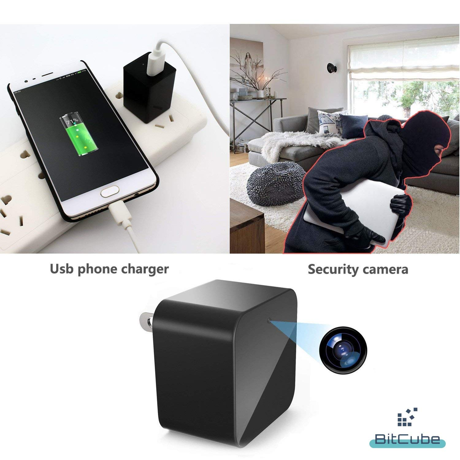 Mini WiFi Camera HD 1080P, USB Wall Charger Indoor Security Nanny Cam Baby Monitors with Motion Detection Night Vision. Compatible with iPhone/Android Phone/iPad Wide Angle Lense. by Bitcube by Bitcube