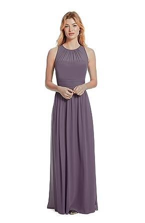 e9f026f479ae Samantha Paige Bateau Neckline Illusion Detail Pleated A-Line Chiffon  Formal Dress,Lilac,