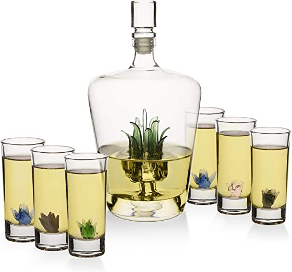 Tequila Decanter Set With Agave Decanter and 6 Agave Shot Glasses