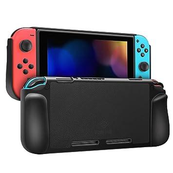 Fintie Funda con Agarre para Nintendo Switch - Carcasa Protectora Trasera Dura con Pegatinas de Cuero para Nintendo Switch en Modo Portátil con Agarre ...