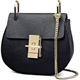 Womens Vintage Genuine Leather Drew Bag Piggy Chain Strap Bag Ladies Shoulder Bag Handbag