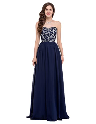 GRACE KARINJunior's Chiffon Strapless Sequins Long Evening Prom Dresses