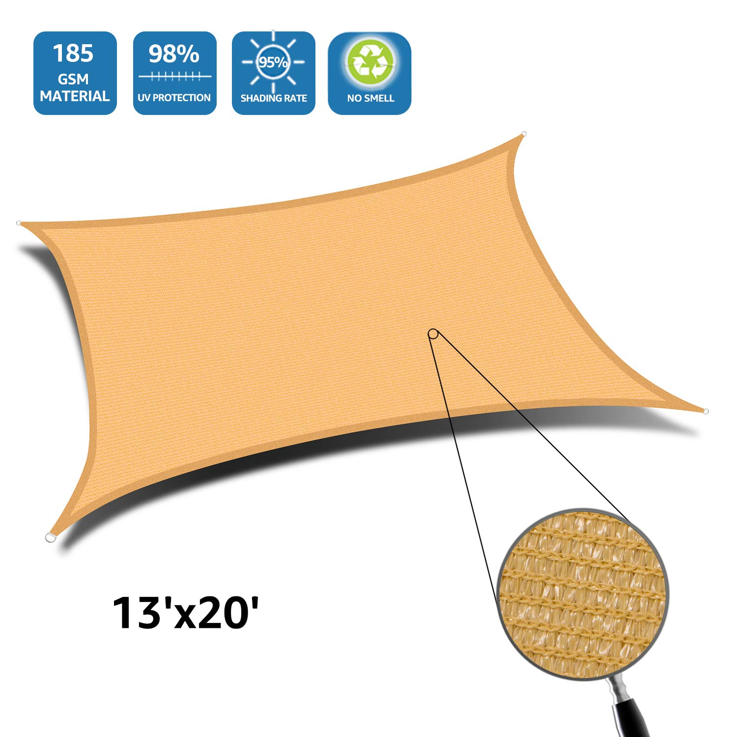 DOEWORKS Rectangle 13' X 20' Sun Shade Sail, UV Block for Outdoor Patio Garden Facility and Activities, Sand