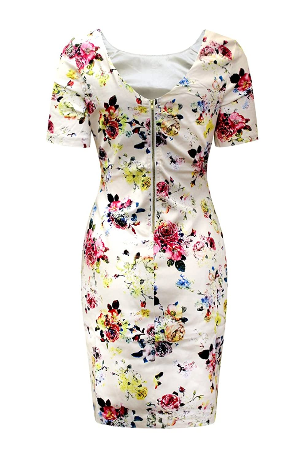 AD LIB D1436 Lucy Rose Print Bodycon Fitted Dress (14)