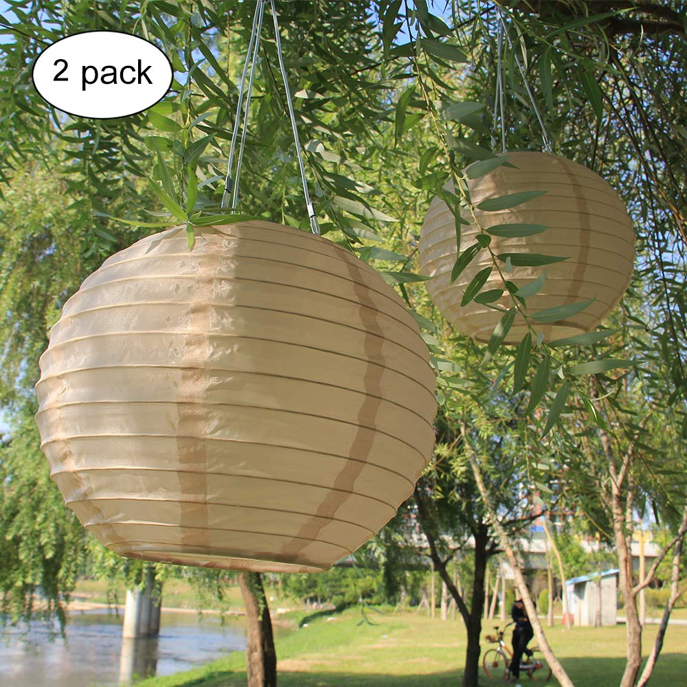 solar 12'' Garden Silk Lantern Hanging Led Lantern in Patio Garden Backyard with sun power outdoor light in garden celebration and party decoration 2PCS Product ID: 7774954746675