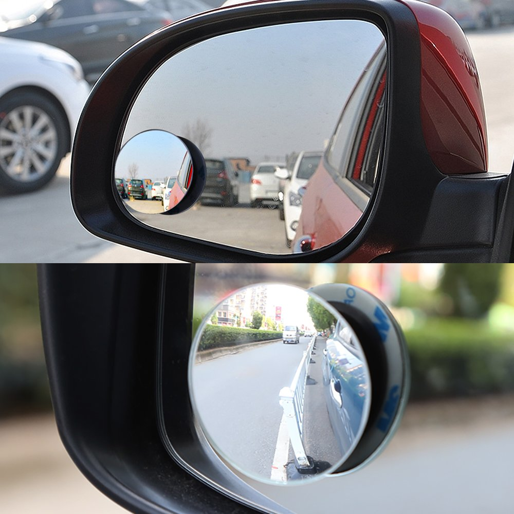 30/° Sway Adjustabe Car SUV Stick On Lens 2 PACK 2 Convex Blind Spot Mirrors Wide Angle Rear View 360/° Rotate