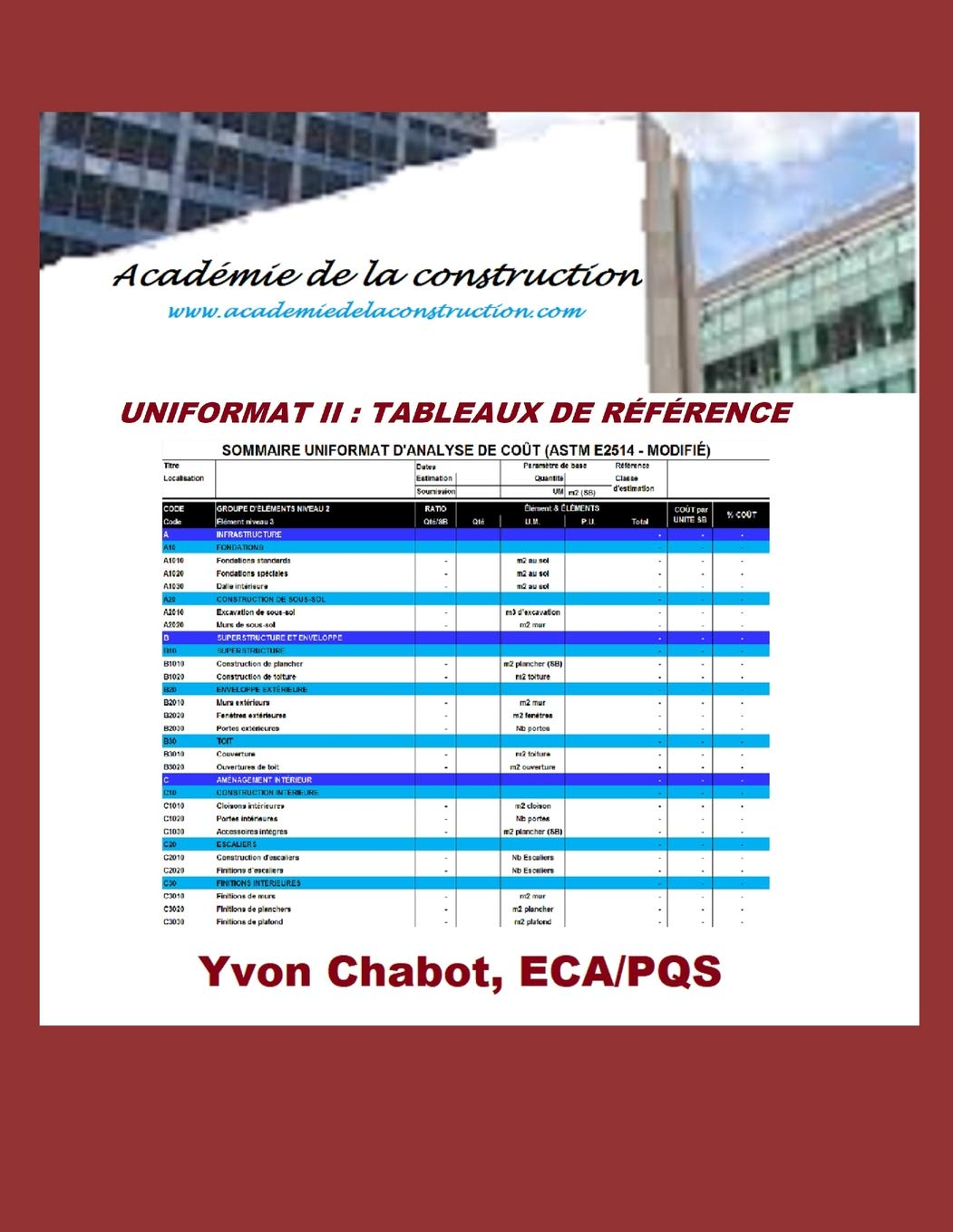 UNIFORMAT II - Tableau de reference (French Edition): Yvon Chabot