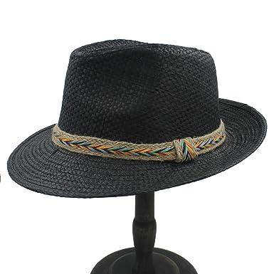 b18995f8 CNBEAU Fashion Women Men Summer Toquilla Straw Panama Beach Sun Hat For  Elegant Lady Summer Wide Brim Chapeu Feminino Fedora sunbonnet (Color : 2,  ...