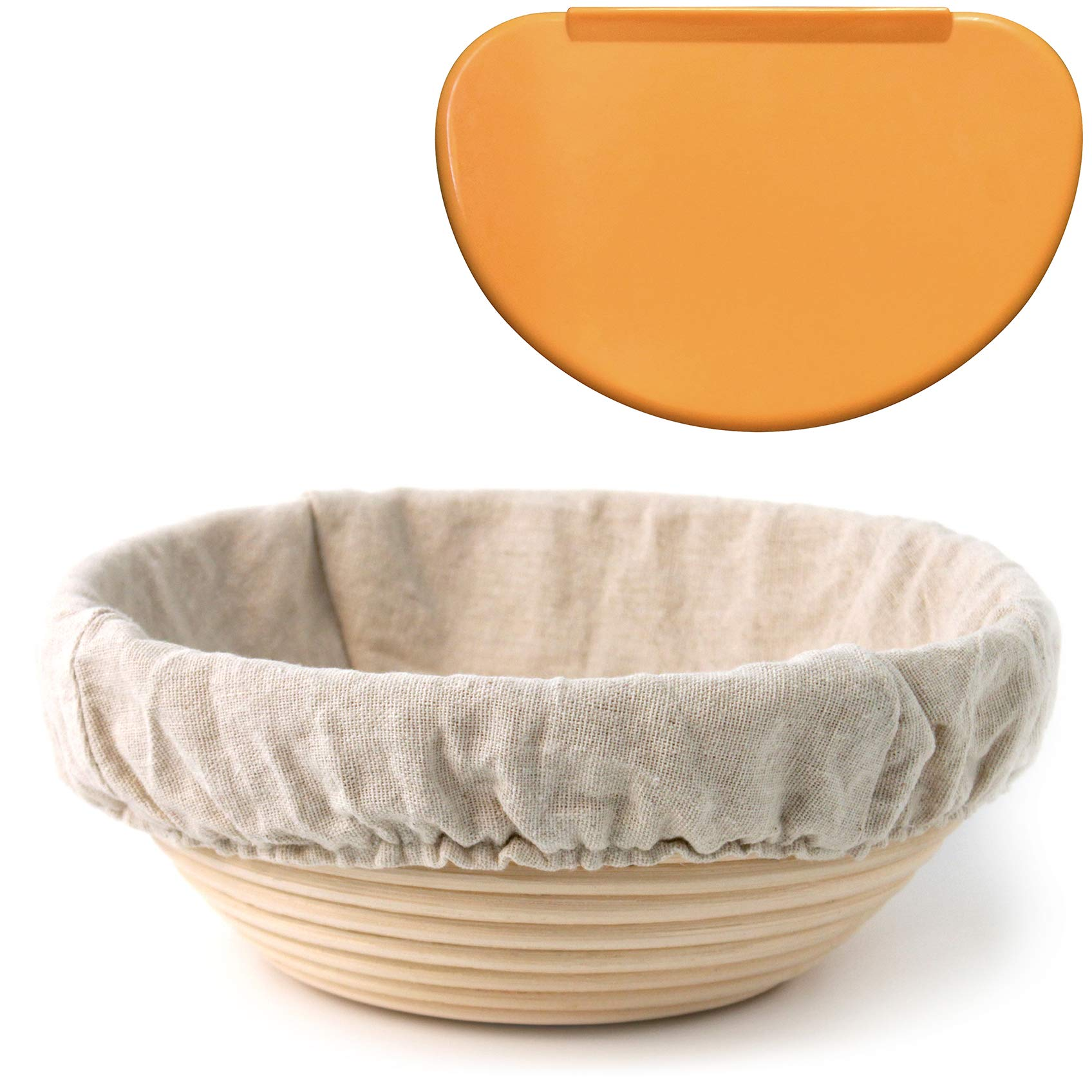 Banneton Proofing Basket 8.5'' Round – with Brotform Cloth Liner for Starter Rising Dough & Flexible Bowl Scraper for Shaping Sourdough Loaf | Artisan Bread Baking Supplies by Indigo True Company