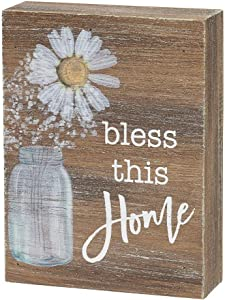 "Collins Painting Inspirational Wood Grain Mini Block Sign, 4"" (Bless This Home)"