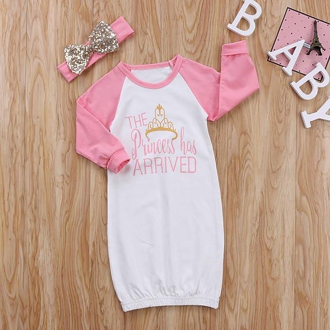 e2d9a4abf Amazon.com  gllive 2PCS Newborn Baby Girl Princess Cotton Sleepwear ...