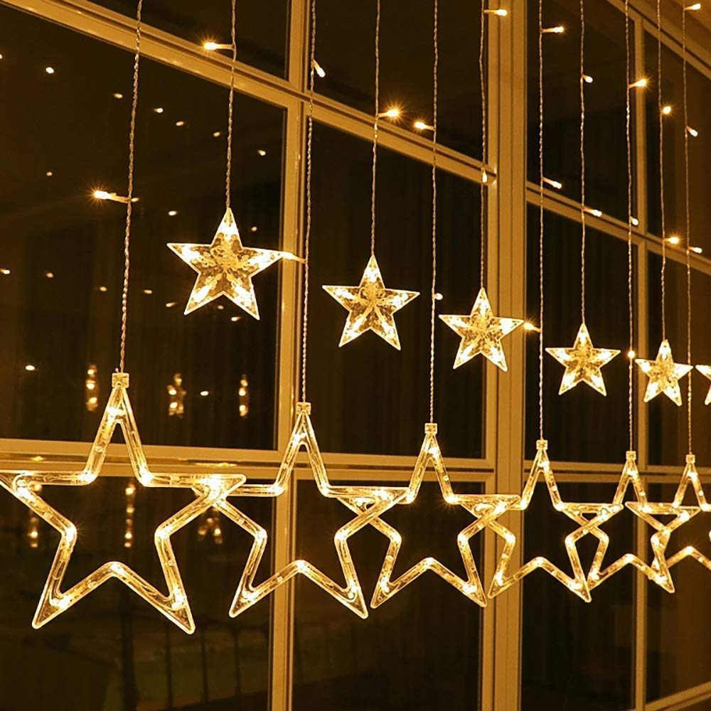 Joomer Star Curtain Lights, 12 Stars 138 LED Connectable Window Curtain Lights with 8 Flashing Modes Decoration for Christmas, Wedding, Party, Home, Bedroom Decorations (Warm White)