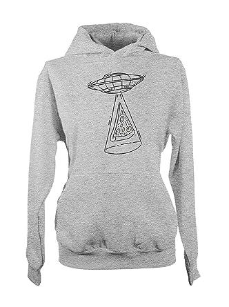 Komisch Aliens UFO Pizza Damen Hoodie Sweatshirt Grau Small