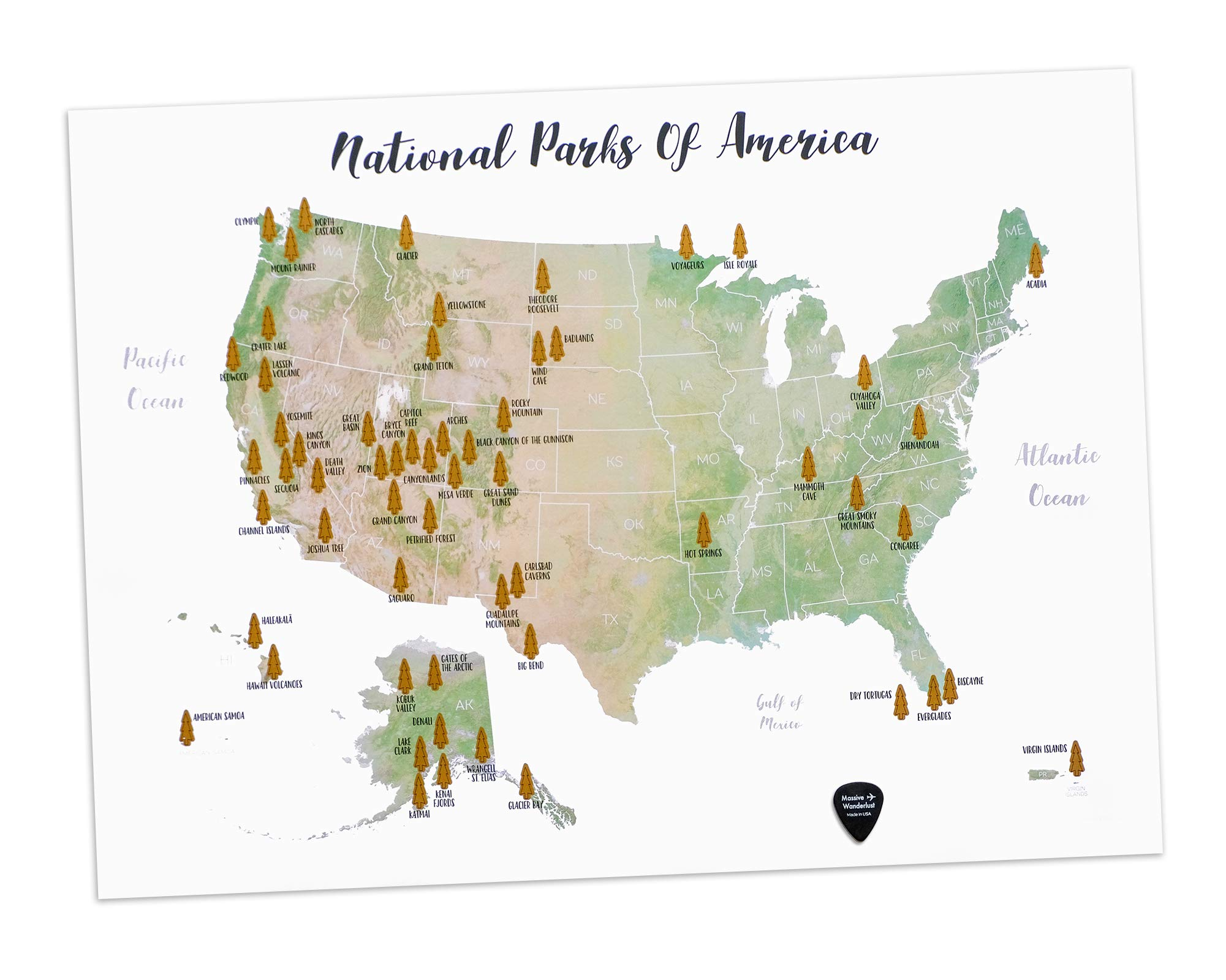 Massive Wanderlust Scratch-Off Your National Parks of America - 100% Made in USA - Large Size 17x23.5 - Gold Scratchable - with Pick and Unique Gift Sticker for Travelers