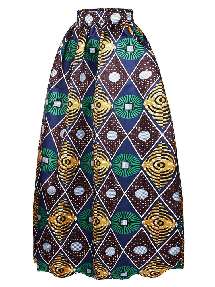 Afibi Women African Printed Casual Maxi Skirt Flared Skirt Multisize A Line Skirt (Large, Pattern 4)
