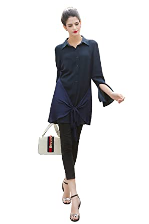 cce8d9ed VOA Women's Long Sleeve Navy Blue Flare Style Splicing Tie Silk Blouse Top