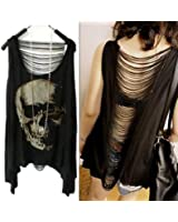 Women Vintage Punk Style Skull Open Back Tassel Tank Top Vest (One Size, Black)