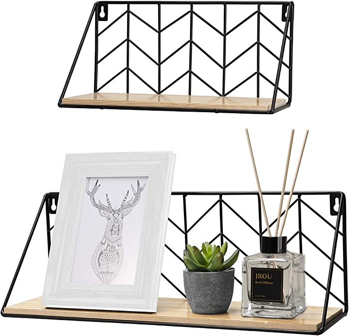 Floating Shelves Wall Mounted Set of 2 Rustic Arrow Design Wood Storage for Bedroom, Living Room, Bathroom, Kitchen, Office, etc