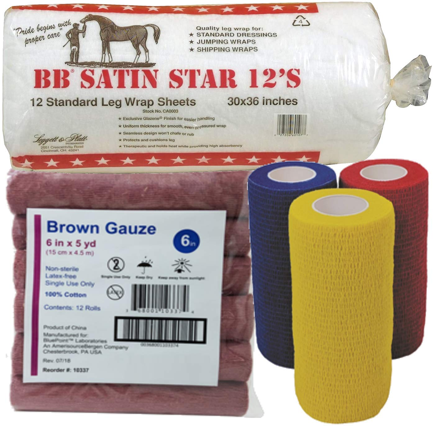 Horse Leg Wraps Wound Care VALUE PACK BB Star Cotton Vet Wrap Sheets, 30'' x 36'' 12'S and Cohesive Vet Wrap (Red/Blue/Yellow), 4'' x 5yd with Brown Gauze, Latex-Free, 6'' x 5yd Equine Horse First Aid Kit by Leggett and Platt