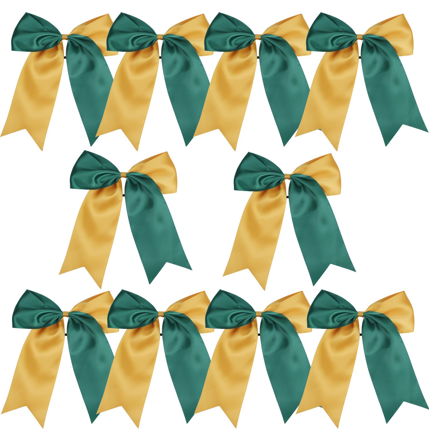 Amazon Com 8 Inch 2 Colors Jumbo Cheerleader Bows Ponytail Holder Cheerleading Bows Hair Bow Forest Green Gold Beauty
