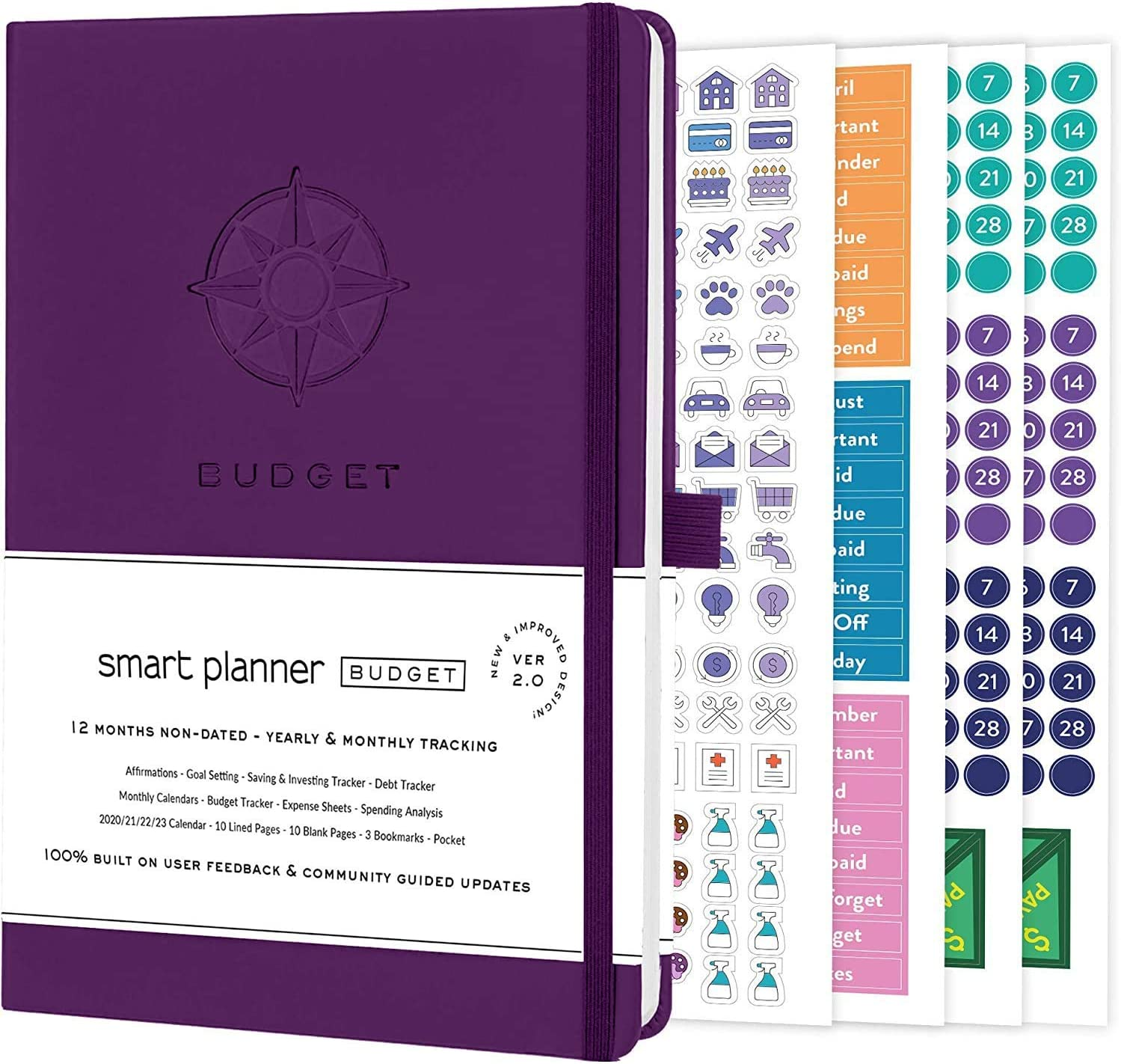 Smart Planner Budget Book – Budget Planner Organizer with Calendars, Debt Tracker, Expense Sheets, Savings Trackers and More – Inner Pocket for Receipts – Non-Dated (Purple)