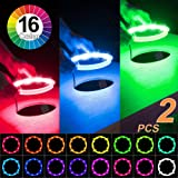 Electop Cornhole LED Lights, Ultra Bright Board Corn Hole Lights, 16 Color Changing with Remote Control Board Ring Lights for Family Backyard Bean Bags Toss Game (2 Sets)