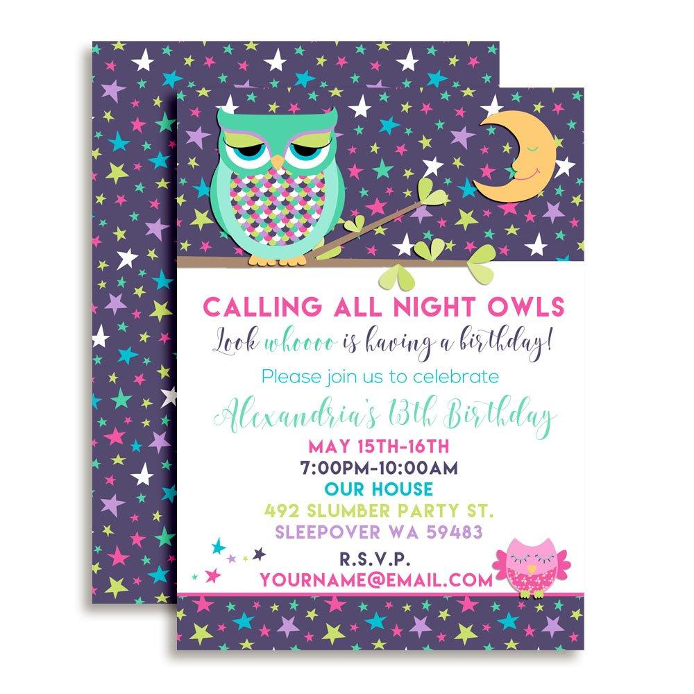 Amazon Night Owl Sleepover Slumber Party Custom Personalized Birthday Invitations Twenty 5x7 Cards With 20 White Envelopes By AmandaCreation Toys