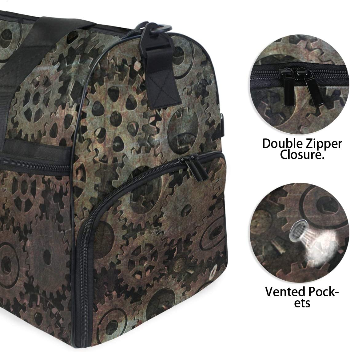 MUOOUM Gear Machine Wheel Large Duffle Bags Sports Gym Bag with Shoes Compartment for Men and Women