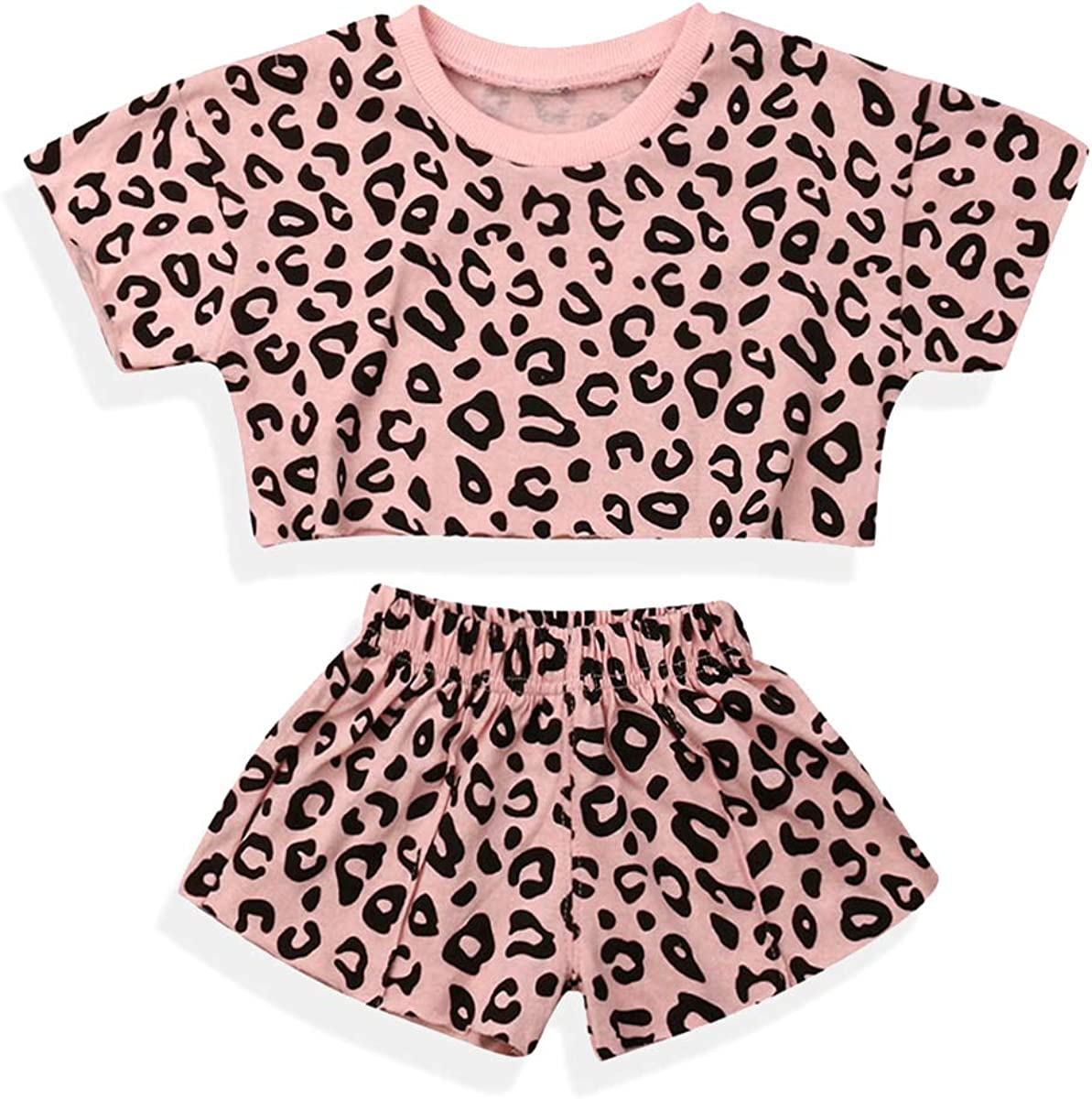 EEFRVDFFDE Baby Girl Summer Clothes T-Shirt Tops+Leopard Shorts 2pcs Toddler Girl Outfit Suit